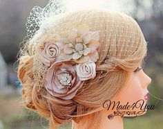 Champagne Birdcage Veil-Gold and Champagne Bridal Fascinator-Wedding Headpiece-Other Colors Available. $65.00, via Etsy.
