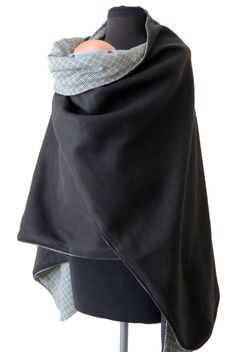 Babywearing Coat  Maternity Wrapping Poncho - Two Layers - REVERSIBLE - Wool Houndstooth and Black Fleece