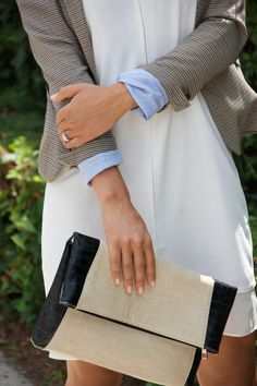 Loved dressing up this white shift dress with a preppy blazer and oversized clutch @marshalls {www.theclosetandthecook.com}