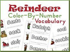Color by number reindeer vocab reindeer, school, numbers, colors, colorbynumb, christma theme, printabl