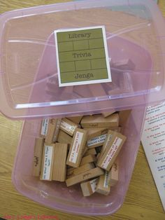 This game is made specifically for library Jenga but the concept could be adapted to questions about any topic.