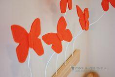 DIY felt butterfly wall display