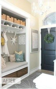 coat closet transformed into entry nook - interiors-designed.com -- I would do this, but I wouldn't know what to do with all our jackets...