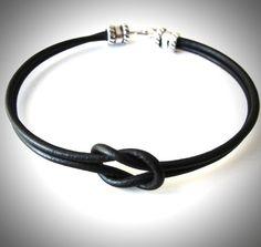 Reef Knotted Black Leather bracelet by JewelryByMaeBee on Etsy, $18.00