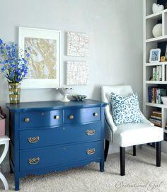 blue dresser in guest room
