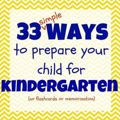 33 Ways to Prepare Your Child for Kindergarten -A Printable List
