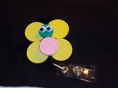Butterfly Medicine Cap Badge Holder by ForthischildIprayed on Etsy butterfli, badge holders, medicin cap, badg holder, tag holder, nursing name tags