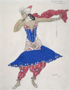 "Anna Pavlova in the Ballet ""Oriental Fantasy"" 1911 Léon Bakst, Russian, 1866-1924  Pencil and watercolor on paper, 31 x 24 cm Genre: European Art, Works on Paper"