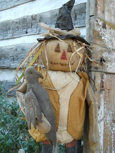 Scarecrow with hand stitched face and by ArtisticOriginals on Etsy