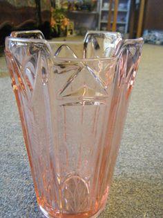 Vintage Pink Depression Glass Vase