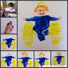 hand print angels - cute idea to use as an activity leading up to Christmas