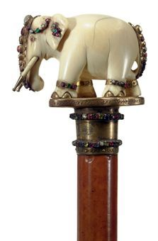 AN INDIAN JEWELED AND IVORY CANE LATE 19TH/EARLY 20TH CENTURY