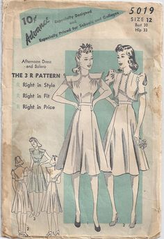 Vintage Sewing Pattern 1940s Afternoon Dress And by Rosie247, $4.00
