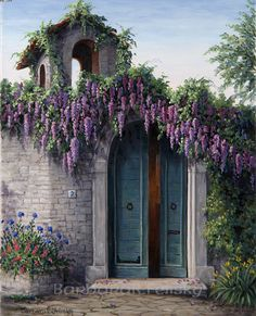 Wisteria dripping over the Garden Gate.