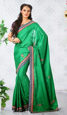 USD 71.32 Green Embroidered Silk Party Wear Saree 29362
