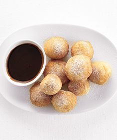 Fried Dough With Chocolate Sauce|For the best results when working with pizza dough, let the dough sit, covered, at room temperature for 30 minutes before following the recipe instructions. (If frozen, thaw it before hand according to the package directions.) Try more sweet recipes using pizza dough: