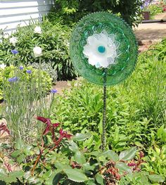 Teal Garden Art Plate Glass Flower Yard Suncatcher by jarmfarm, $75.00