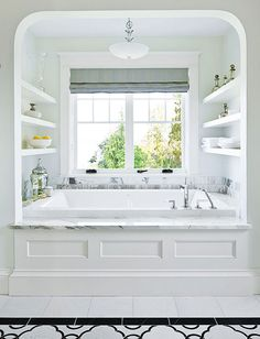Storage system installed on the walls above the bathtub -great idea!
