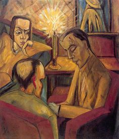Erich Heckel,  Unterhaltung (Entertainment). This painting was banned by the Nazi regime and exhibited at the Degenerate art exhibition in Munich in 1937.