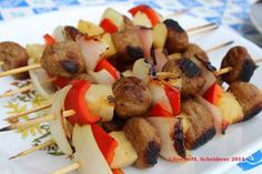 Yummy Meatball Skewers by Down on the Farm   Featured in 8 Easy Summertime Kabob Recipes from Gooseberry Patch