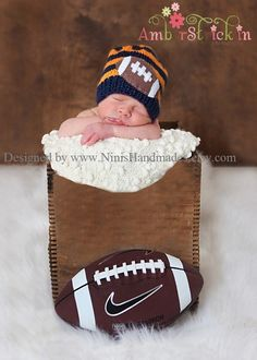 NAVY AND ORANGE Football  Beanie Newborn size by NinisHandmades, $28.00