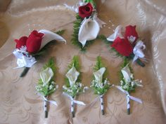 rose and lily boutonniere | ... Calla lily and Rose Corsages and 4 Real Touch Calla lily Boutonnieres