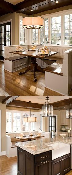 Create a kitchen/dining room design with a Built-In Dining Room Bench and Table to create a breakfast nook - Dura Supreme Cabinetry designed by Ispiri.