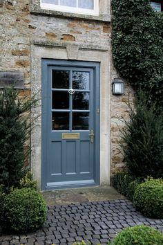 HC Gardens front of house project Jan 2014 for Kingham garden underway : client's door in Farrow & Ball Downpipe.