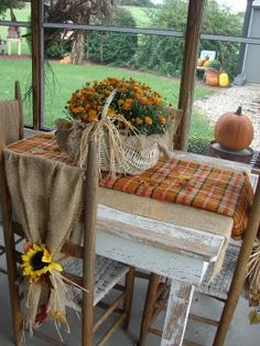 Fall Time...Burlap draped over the back of the chair.