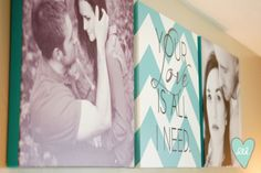 Square photo canvases + chevron quote canvas for master bedroom-- Design Loves Detail