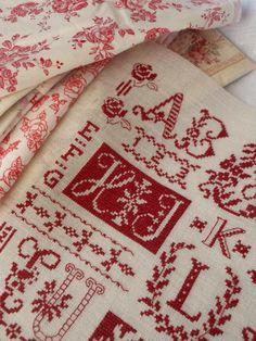 needlework, monogram, redwork, crosses, red white, cross stitches, sampler, embroideri, red work