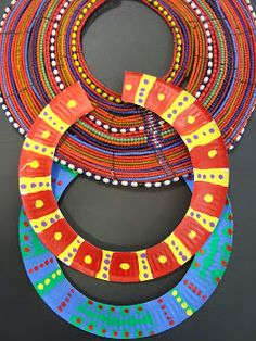 African Maasai necklace project for kids -- all you need is a paper plate and some markers to make these colorful and beautiful necklaces! #Africa