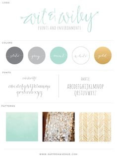 Mint, grey, gold branding