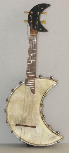 harvest moon, ukulele, funky decor, luna guitars, art, banjos, musical instruments, crescent, banjo uke