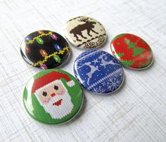 Ugly Christmas Sweater Pinback Buttons Set by NudeAndLoiteringTees, $5.00