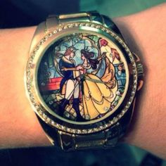 Beauty and the Beast stained glass watch. Love it! Tale as old as... TIME. Dying. I need this. beast stain, beauti, stain glass, beauty and the beast watch, glass watch, stained glass, beauty and the beast clothing