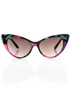 Dark Flowers Cateye Sunglasses at ShopPlasticland.com