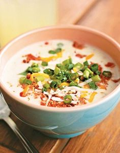 This hearty Potato Soup #recipe is from Montague's Texas-Style BBQ & Home Cooking in Hermann, Missouri. Has anyone been before?    #soup
