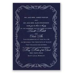 foil wedding invitation I calligraphy border I shown in navy with matte white foil; tons of combinations available!