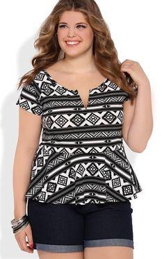 Deb Shops Short Sleeve Aztec Print Peplum Top $21.00
