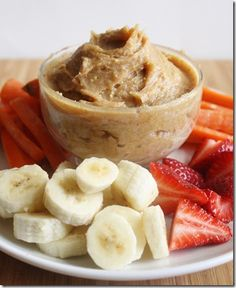 peanut butter yogurt dip with fruit bits