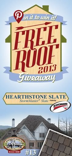 Re-pin this gorgeous StormMaster Slate Hearthstone Shingle for your chance to win in the Sherriff-Goslin Pin It To Win It FREE ROOF Giveaway. Available in Sherriff-Goslin service area only. Re-pin weekly for more chances to win! | Stay Updated! Click the following link to receive contest updates. http://www.sherriffgoslin.com/repin Learn More about this shingle here: http://www.sherriffgoslin.com/tabbed.php?section_url=172