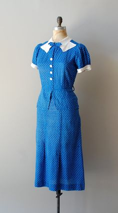 Charming, cheerfully pretty 1930s Deauville Swiss dot dress. #vintage #1930s #blue #dresses #fashion