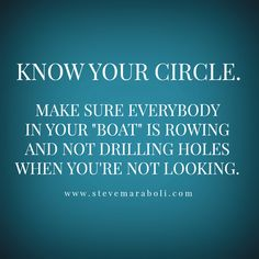 "Know your circle.  Make sure everybody in your ""boat"" is rowing and not drilling holes when you're not looking."