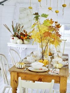 White/Yellow Fall Tablescape