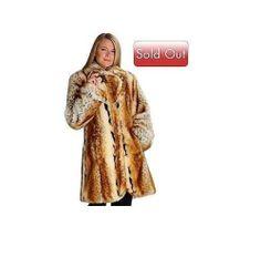 Pamela McCoy Large Notch Collar Natural Lynx Faux Fur 3 4 Length Coat Med | eBay