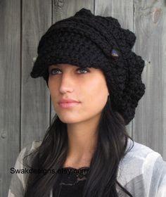 crochet newsboy, style, accessori, slouchi hat, black slouchi, knit hats, newsboy hat