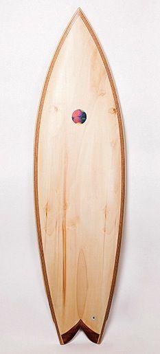 wood surfboard, by hess.