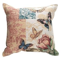 Butterfly Floral Tapestry Pillow - Made in the USA.