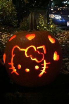 Pumpkin on pinterest pumpkin carvings scary halloween for Hello kitty pumpkin carving patterns